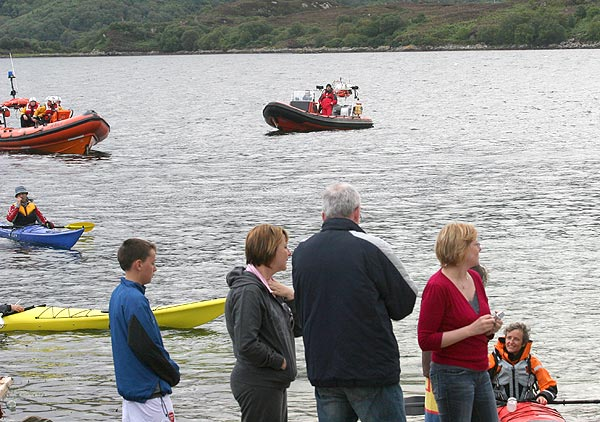 RNLI Kayaks and small craft supporting the 2007 Kyleakin to Kyleannual  swimming race